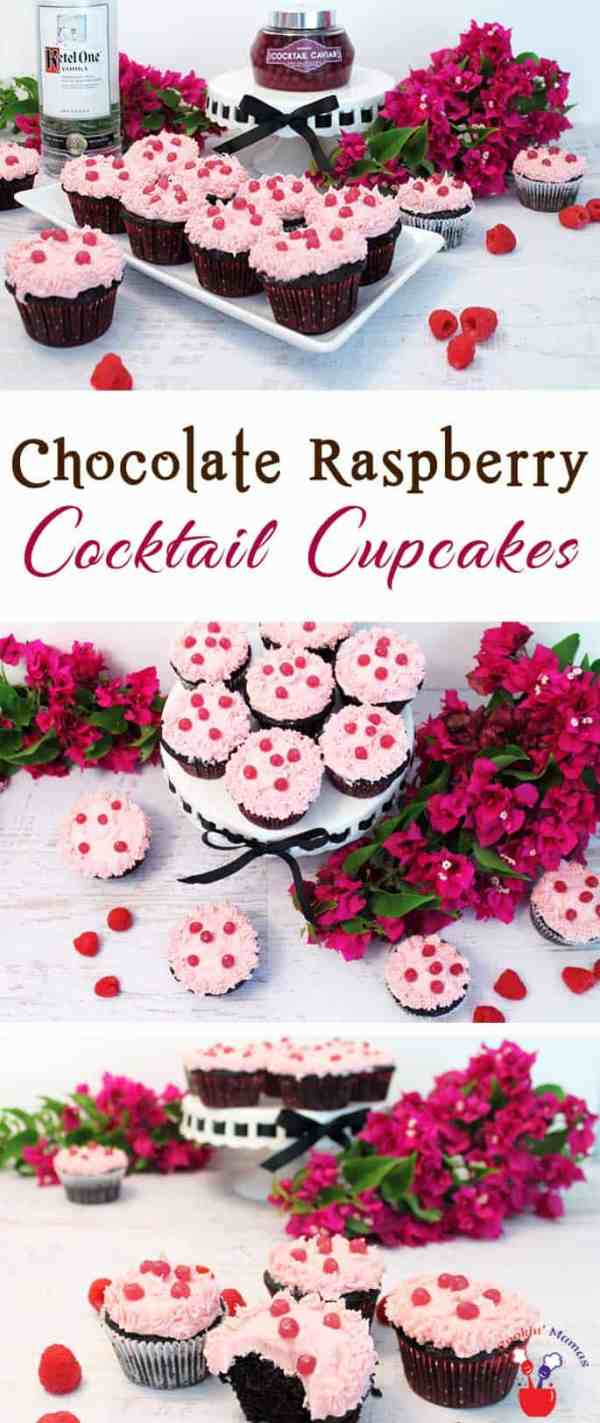 Chocolate Raspberry Cocktail Cupcakes | 2 Cookin Mamas Chocolate Raspberry Cocktail Cupcakes are rich chocolaty cupcakes flavored with raspberry vodka & topped with vodka caviar. It's a cocktail & dessert all in one!