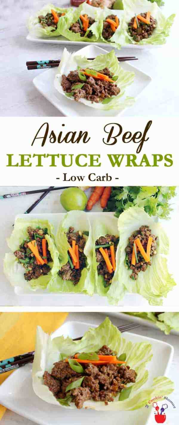 Asian Beef Lettuce Wraps | 2 CookinMamas Asian Beef Lettuce Wraps are a quick & easy low carb dinner done in less than 30! Hoisin flavored ground beef wrapped in a lettuce leaf - can you say yum! #recipe #groundbeef #dinner