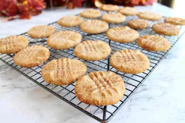 Peanut Butter Snickerdoodles cooling | 2 Cookin Mamas