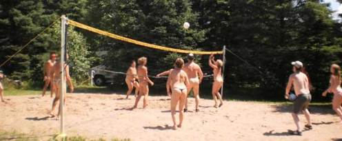 nude volley ball, clothing optional