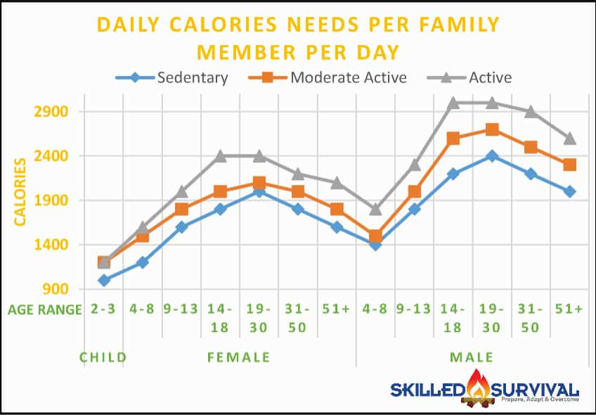Family Calorie Needs Chart