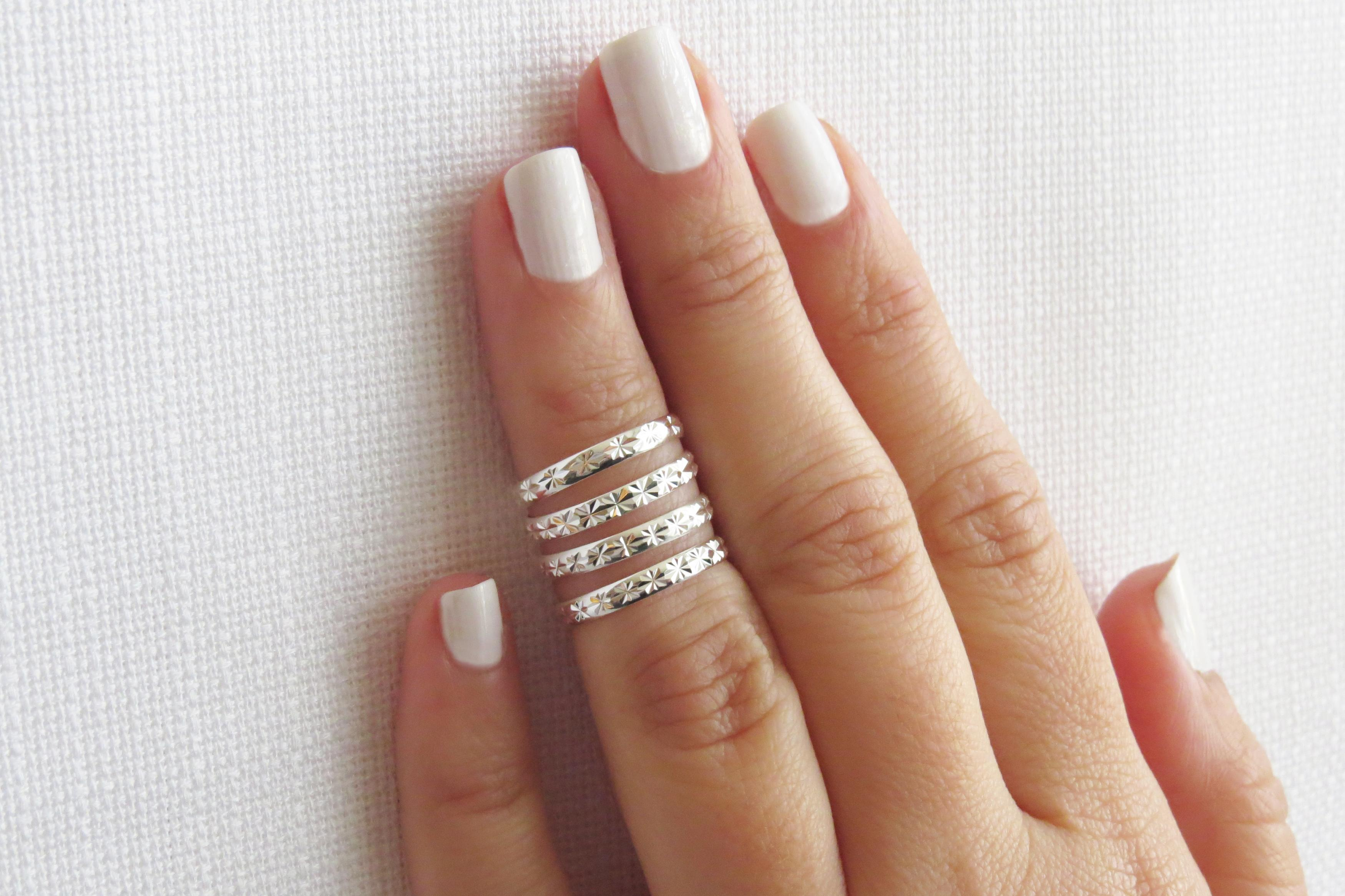 Silver Knuckle Ring, Silver Ring, Stacking Rings, Above