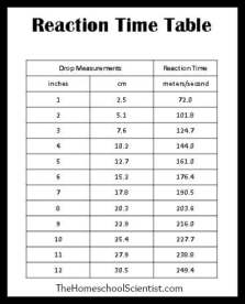 Image result for reaction time table