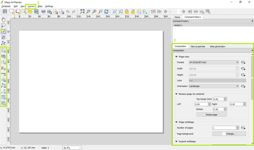 Compositor de mapas do QGIS 2.18.