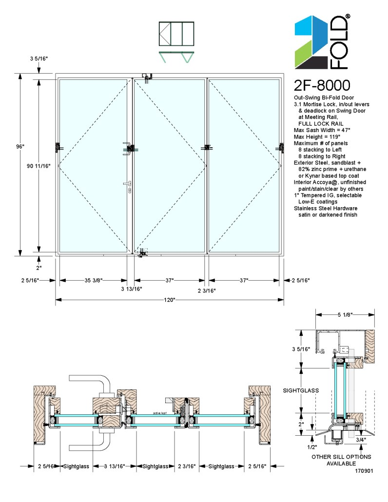 2Fold® out-swing folding door with mortise lock and lock rail hinged at frame