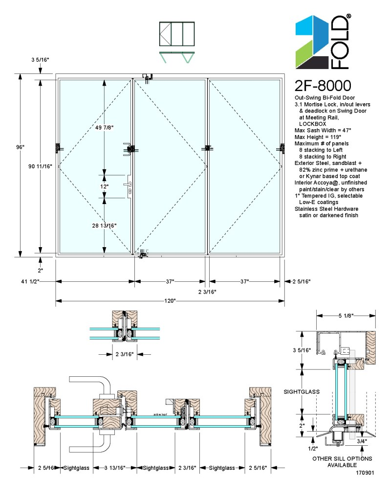 2Fold® out-swing folding door with mortise lock and lock rail