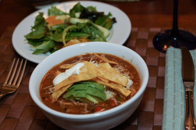Dinner is served: tortilla soup
