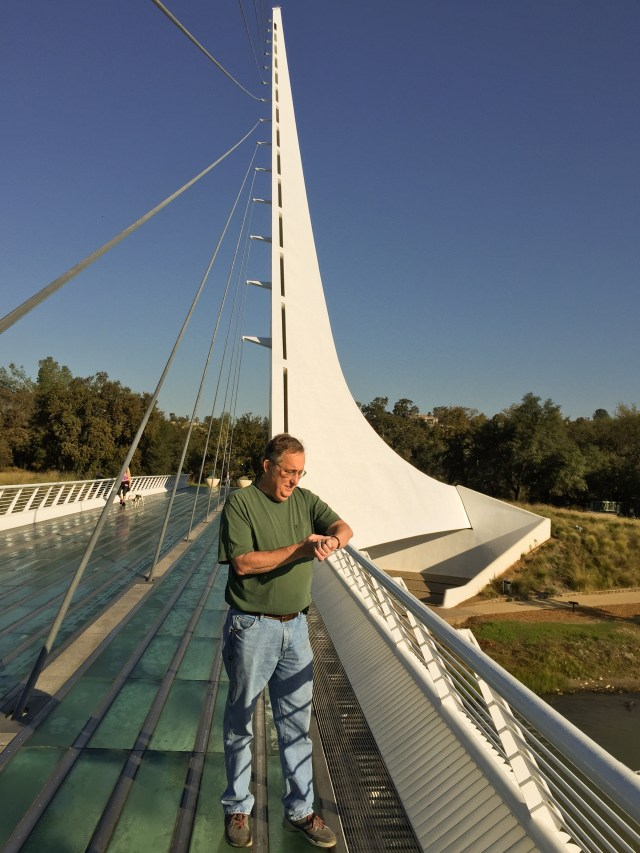 Howard sets his watch at the Sundial Bridge in Redding, Ca