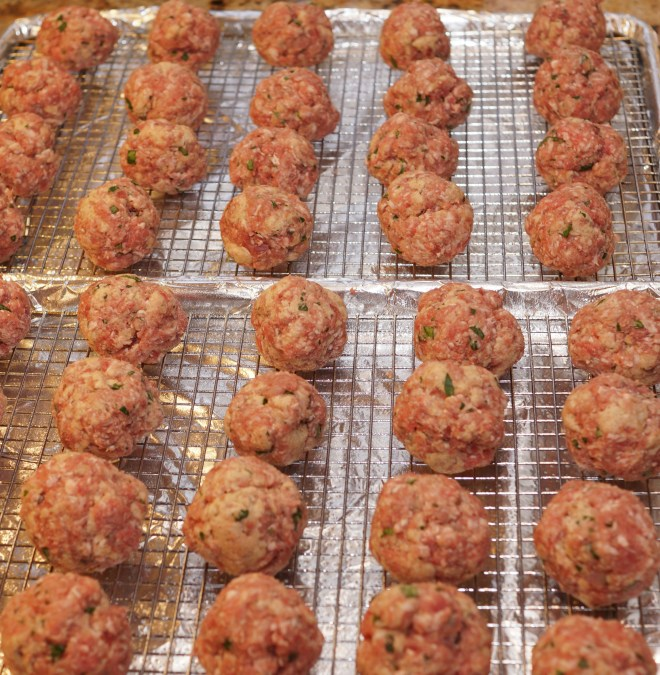 Meatballs waiting for their oven time