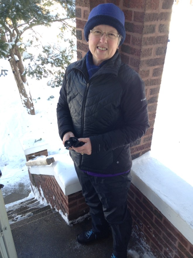 Carla prepares for a walk in the deep snow.