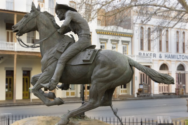Pony Express Rider statue in Sacramento, California
