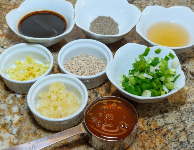 Prepped ingredients for Oven-baked Sesame Chicken Thighs