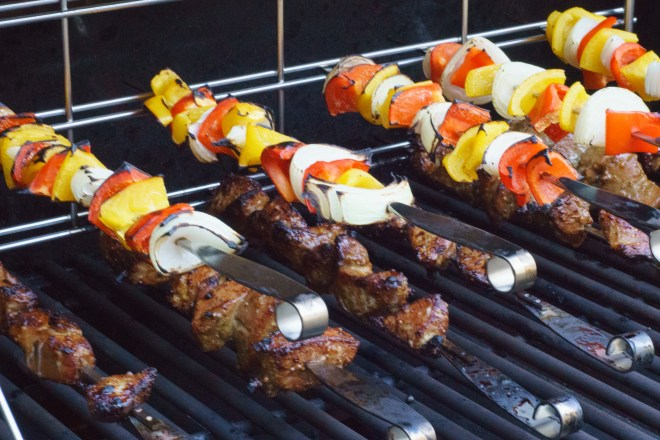 Kabobs and veges on the grill