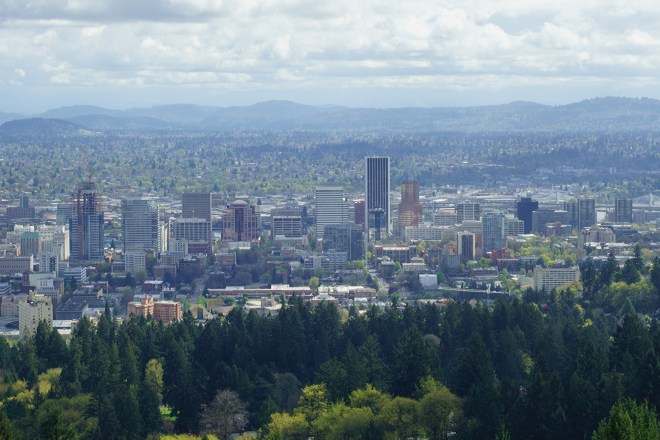 Looking east to downtown Portland and beyond from Pittock Mansion