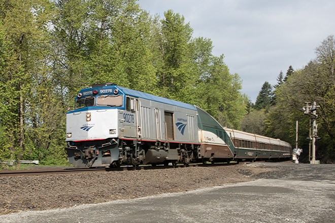 Amtrak Cascades headed south to Portland  at the Ridgefield National Wildlife Refuge north of Vancouver, WA