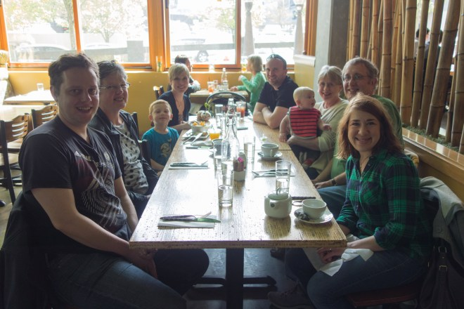 Jeff, Carla, Gregory, Sarah, Carr, Archer, Laura, me (Howard), and Sarah having breakfast in West Seattle