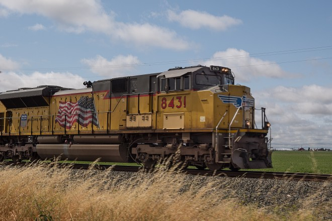 Northbound Union Pacific freight along the line parallel to US 99 south of Sacramento