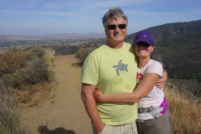 Glenn and Carolyn hiking in the mountains of the Inland Empire