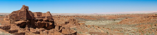 A pueblo and the desert in Wupatki National Monument