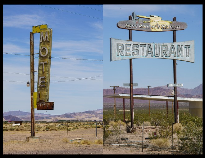 Signs for non existent businesses in the desert