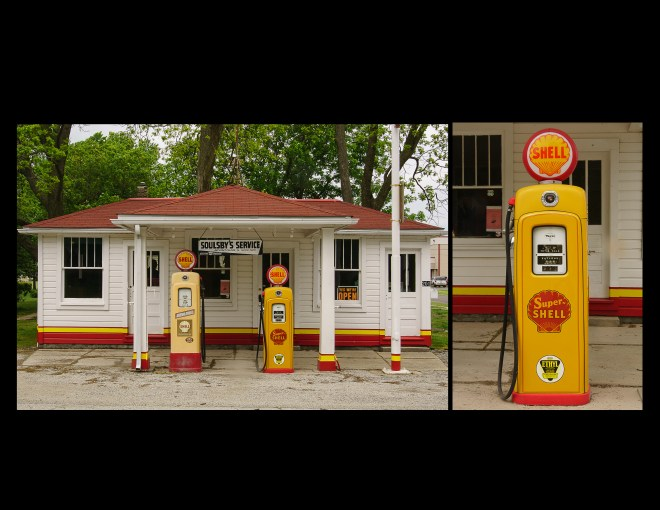 Gas station and pump along Route 66 in Illinois
