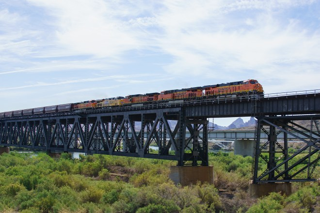 West bound BNSF freight crossing the Colorado River.