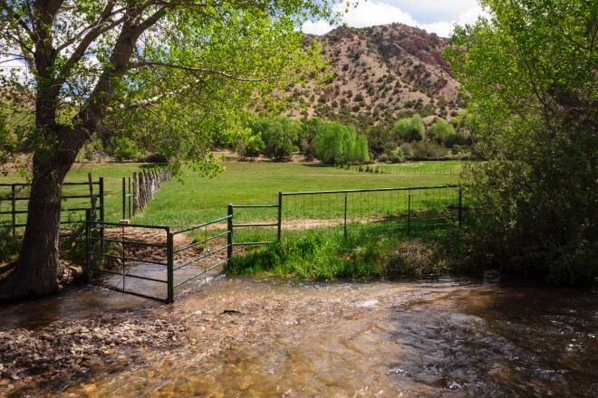 River running on the grounds of El Santuario de Chimayo in New Mexico