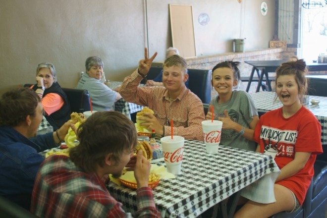 Kids at the Chuck Wagon Restaurant in  McLean, Texas