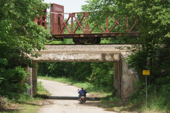 Train stopped on an overpass in Sapulpa, Oklahoma