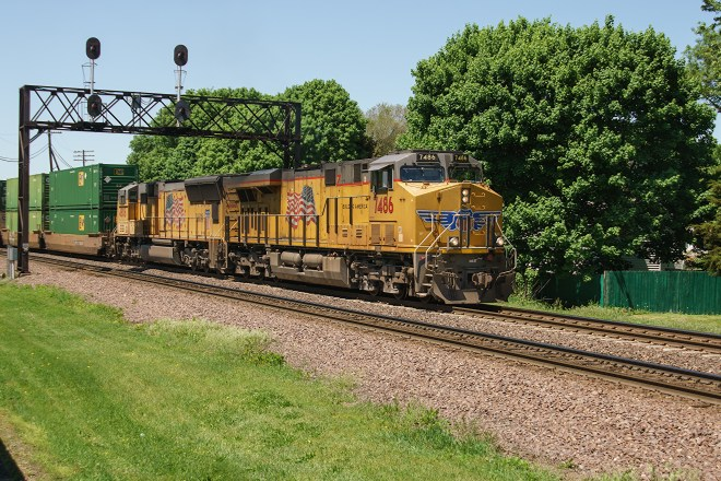 Eastbound Union Pacific at Rochelle Railroad Park, Illinois