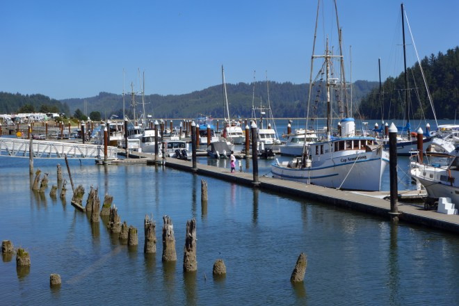 Moorage on the Siuslaw River in Florence, Oregon