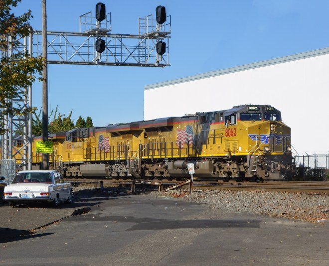 Southbound Union Pacific freight in Southeast Portland