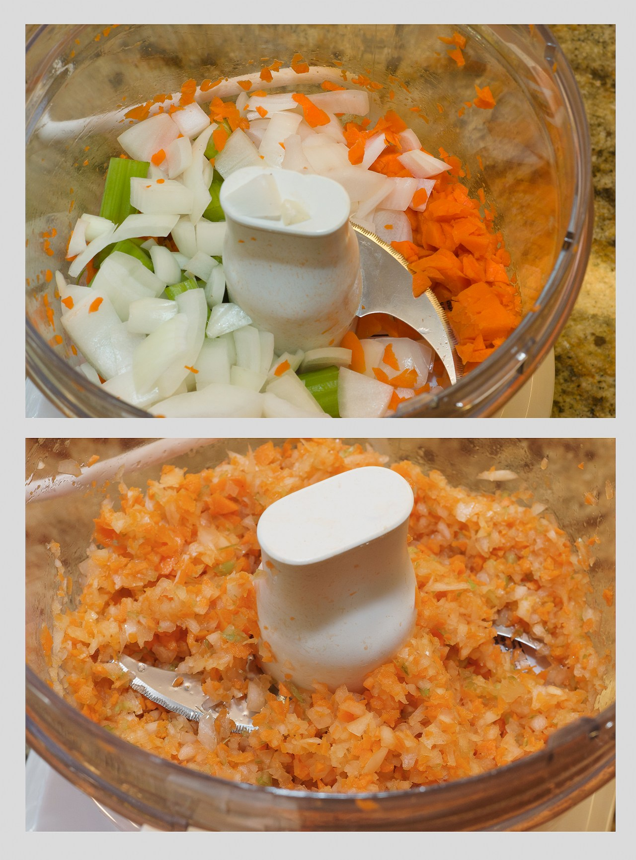 Chopping the mirepoix quickly in the food processor