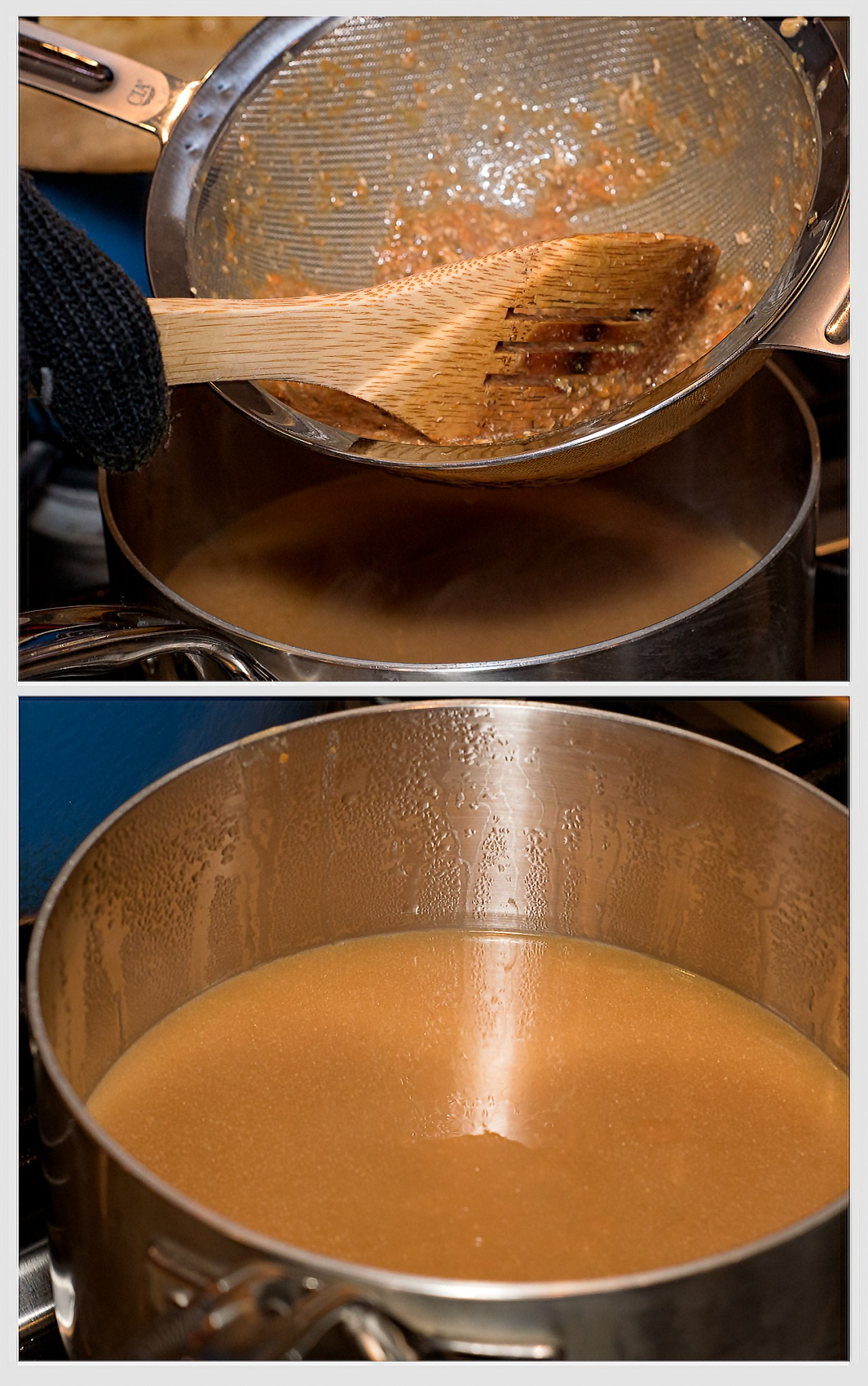 Straining the solids from the final gravy