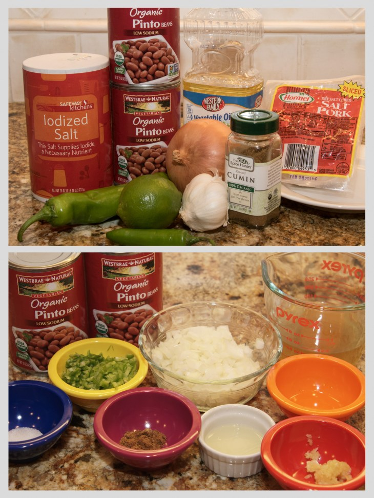 Refried bean ingredients before and after