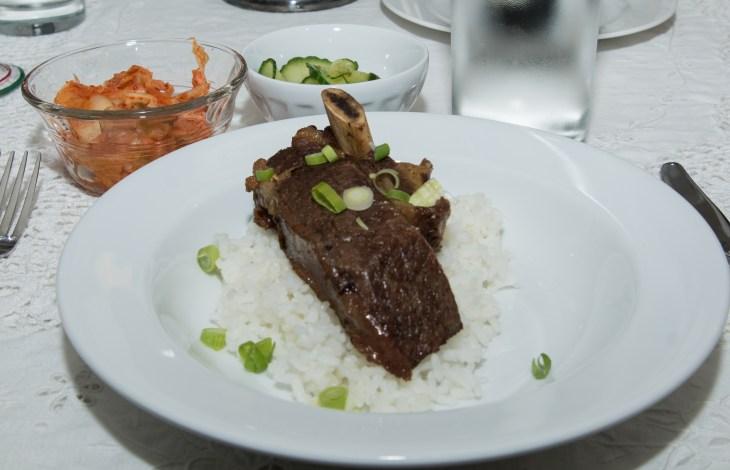 Dinner is served. Korean short ribs, kim chi,and sautéd cucmbers.