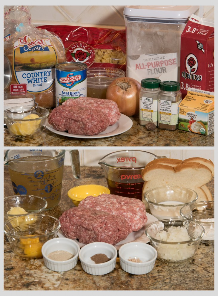 Ingredients and mis en place for Swedish meatballs
