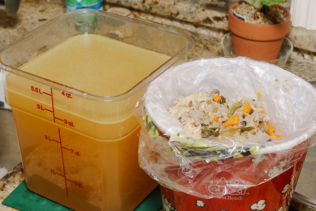 Chicken stock revisited - stock separated from the ingredients.