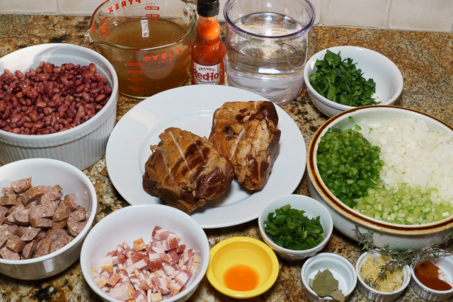 Red beans and rice - mise en place (Things in place)