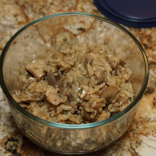 Mushroom risotto leftovers