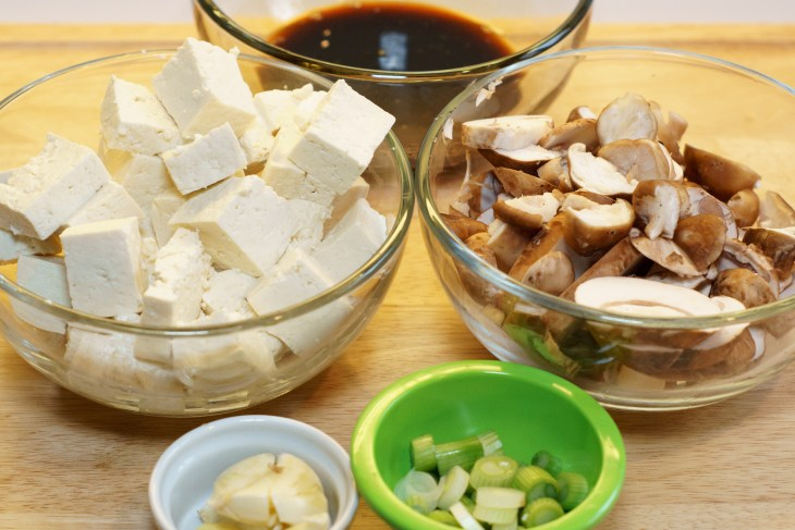 Bean Curd (Tofu) with Oyster Sauce mis en place