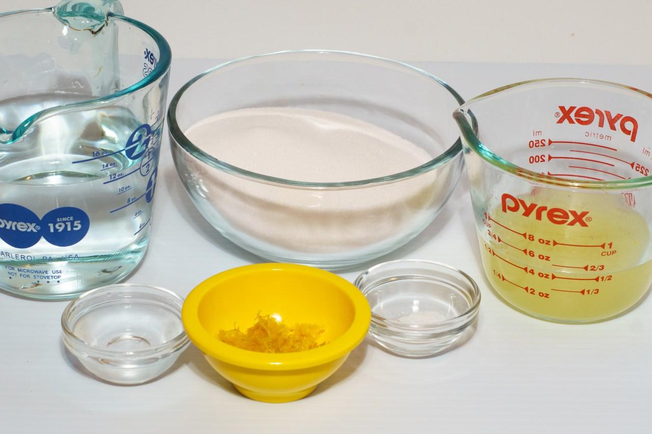 Lemon sorbet ingredients ready for the food processor