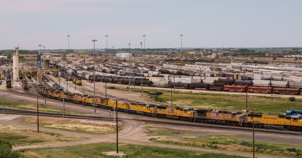 Part of the Union Pacific rail yard in North Platte, Nebraska