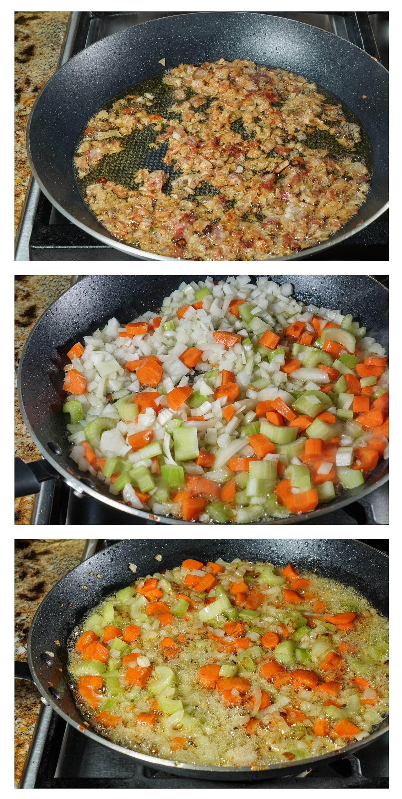 Sautéing pancetta and vegetables for Tuscan Bean Stew