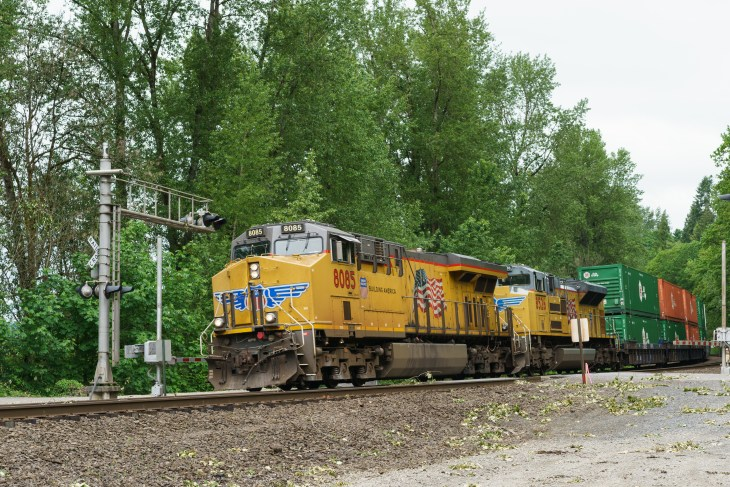 Union Pacific container trains headed south at Ridgefield Bird Sancutary