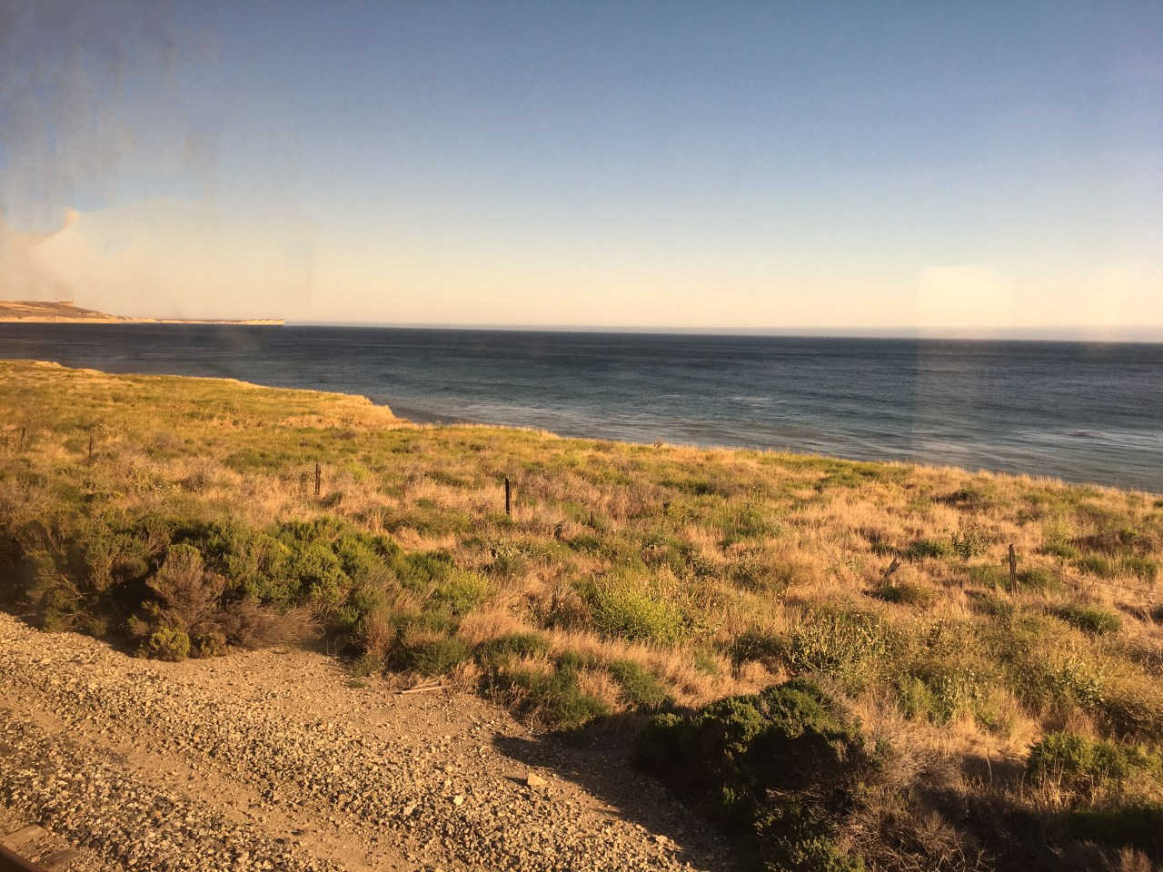 First view of the Pacific Ocean on the Coast Starlight