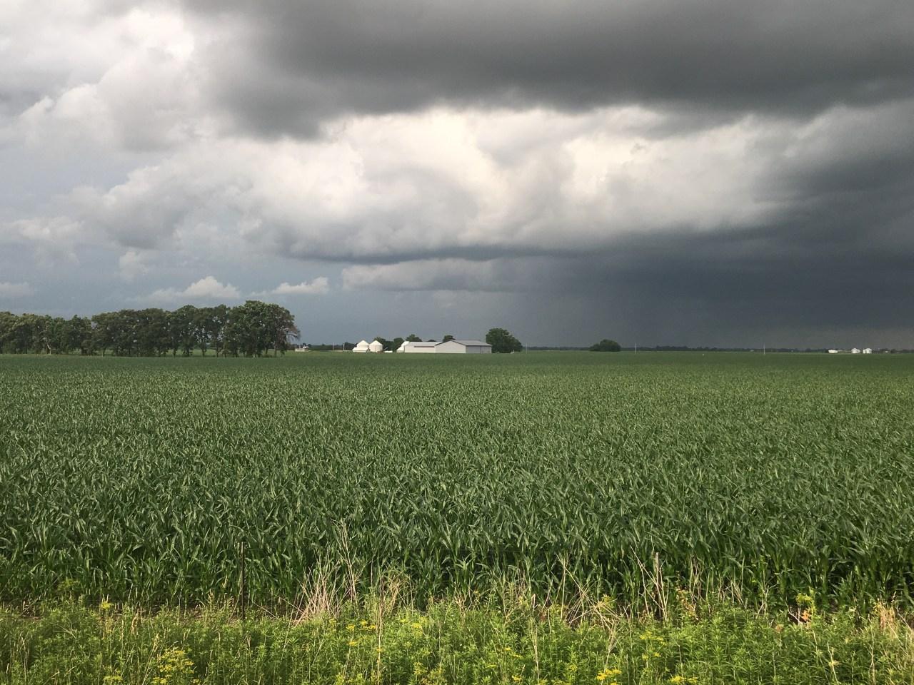 Stormy skies near the Iowa, Illinois border