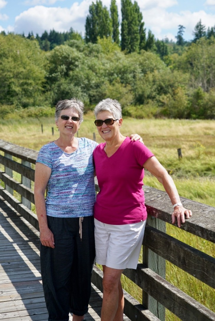 Carla and friend at the wetlands nature preserve in Belfair Washington