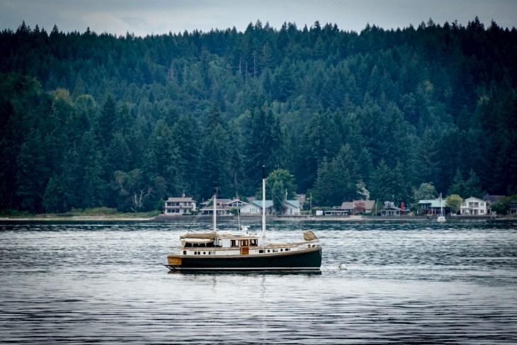 Sailboat at anchor at Hood Canal