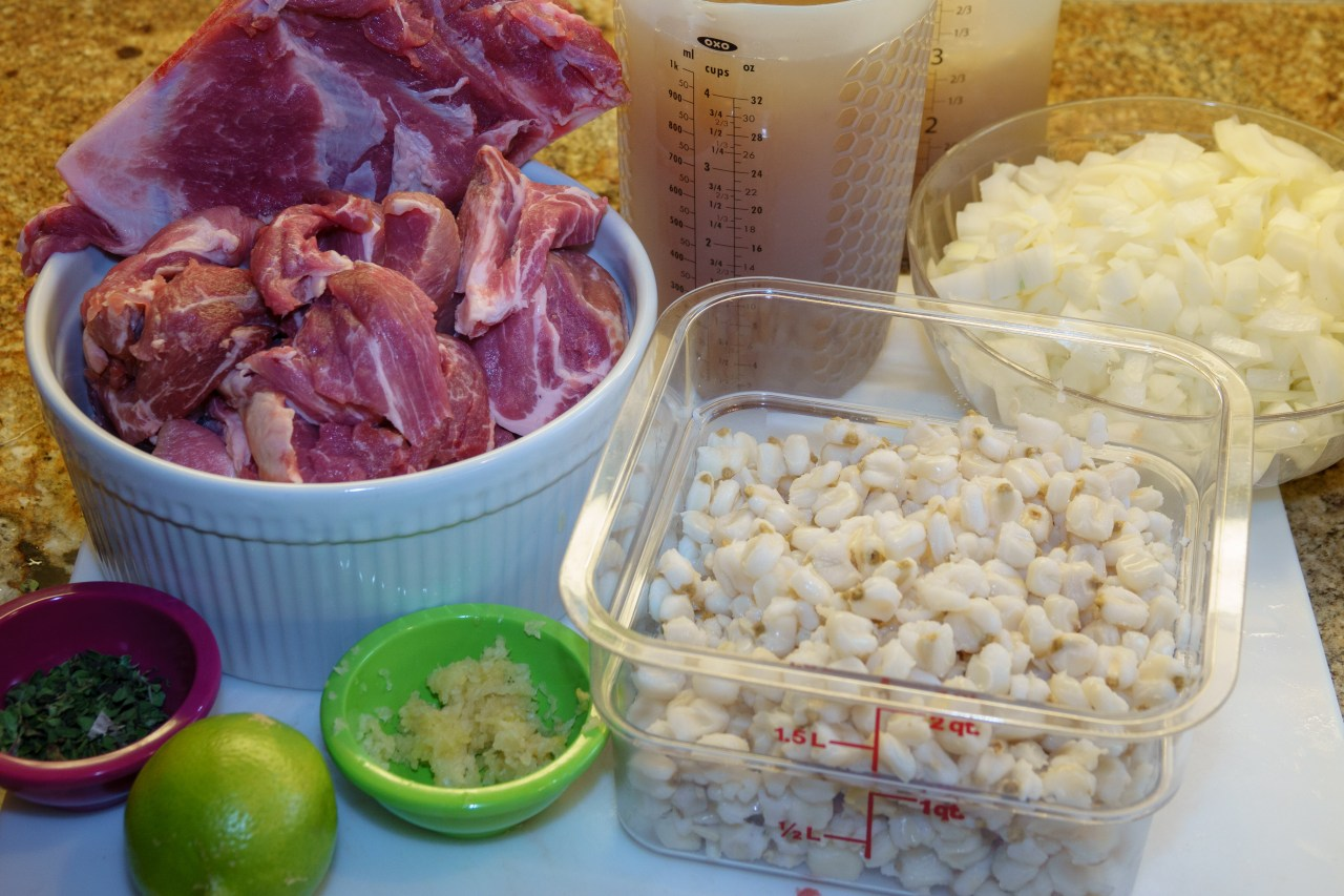 Posole mis en place (roughly: things in place)